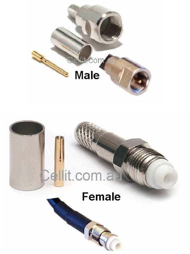 FME Male & Female Crimp Connectors. For RG174 RG58 LL195 Coaxial Cable